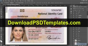 National Identity Card Card Template United Id uk Kingdom