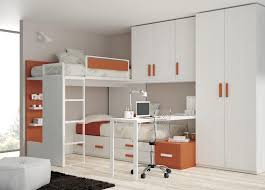 Small Bedroom Bunk Beds Bedroom Cream Contemporary Wooden Bunk Bed White Modern Bookcaase