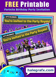 Birthday Party Evites Free Printable Fortnite Birthday Party Invitation