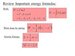 review important energy formulas