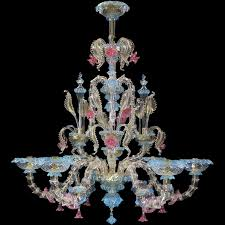 6 lights chandelier classic rezzonico venetian crystal pink and blue details with gold
