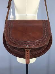 vintage 1960s tooled leather saddlebag purse