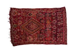 vintage moroccan boujad rug hand woven with red orange and purple wool 245x160cm