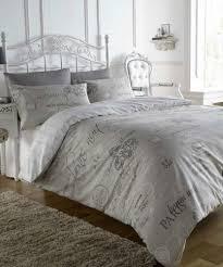 Parisian Style Bedroom Furniture French Style Script Natural Paris Calligraphy Design King Duvet