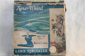 Vintage Aero-Whirl <b>Revolving</b> Lawn <b>Sprinkler</b> still in Box from 50's or ...