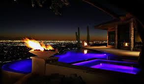 home swimming pools at night. Purple Neon Home Swimming Pool Lighting With Fire Pit Pools At Night