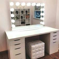 makeup vanity set with mirror and lights white lovely dressing table desk modern