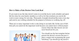 Real Fake Doctors Note How To Make A Fake Doctors Note Look Real Pdf Docdroid