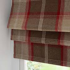 Red Roller Blinds Kitchen Highland Red Check Blackout Roman Blind Dunelm Roman Blinds