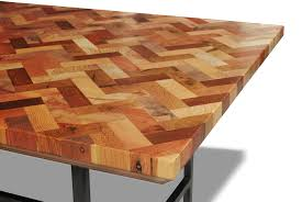 Creative Reclaimed Wood Mosaic With Zigzag Pattern Top Coffee Table