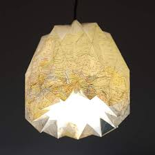 diy origami pendant lampshade from an old world map by alt trifft neu upcycledzine