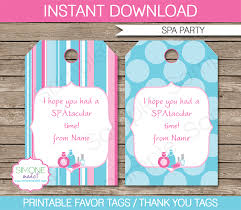 Birthday Tags Template Spa Party Favor Tags Template Thank You Tags