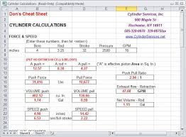 Download Dons Hydraulic Calculator Cheat Sheet Cylinder