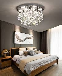 modern flush mount crystal chandelier