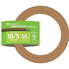 Southwire 64169622 5 Conductor 18 5 Thermostat Wire 18 Gauge Solid Copper Class 2 Power Limited Circuit Cable 50 Feet Brown