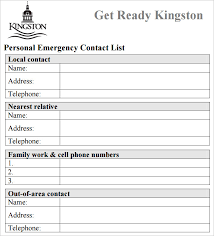 Personal Contact Template Contact List Form Magdalene Project Org