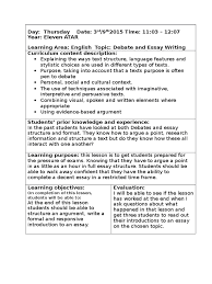year lesson plan debate and essay structure essays interpretive  year 11 lesson plan debate and essay structure essays interpretive 15005
