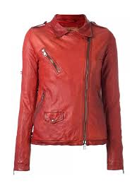 women ontario red distressed leather jacket