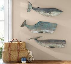 painted wood whales wall art set on painted wood fish wall art with painted wood whales wall art set pottery barn