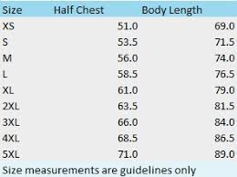 Size Chart Clothing Planet Online