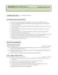 Resume Objective Computer Programmer