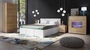 Schlafzimmer Set Kleiderschrank Bett Nachttisch Und Kommode Led