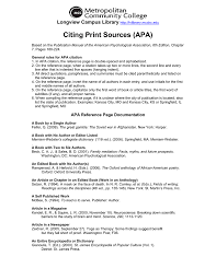 Citing Print Sources Apa