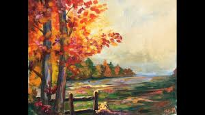 beginner learn to paint a landscape full acrylic for fall autumn