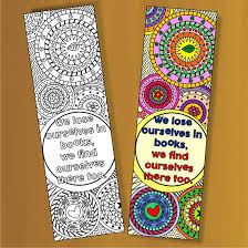 Design Bookmarks Set Of 4 Coloring Bookmarks With Quotes Plus The Colored