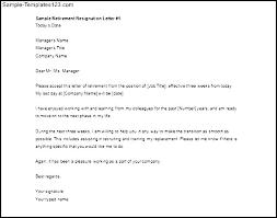 Retirement Letter Samples Of Resignation Letters Standard Resignation Letter Sample Of