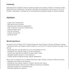 Early Childhood Resume - Tier.brianhenry.co