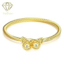 designer inspired jewelry top brand gold color bangle with double hollow ellipses inlaid cubic zirconia bracelet