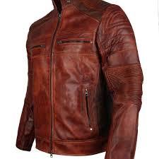 vintage brown waxed biker leather jacket for men