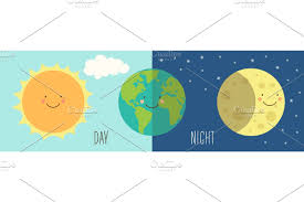 <b>Cute Day and Night</b> with funny smiling cartoon characters of planets ...