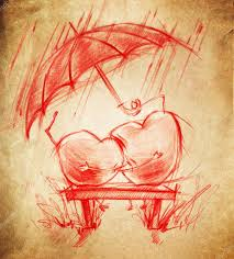 two hearts in love sit under an umbrella stock photo
