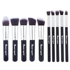 makeup brush set cosmetics foundation blending blush eyeliner face powder brush makeup brush kit 10pcs black silver best s in india rediff