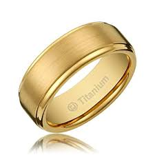 men gold wedding bands. 8mm mens titanium gold-plated ring wedding band brushed top and polished finish edges [ men gold bands n