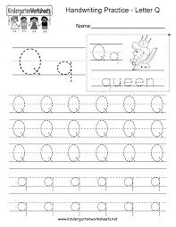 Kindergarten Letter Q Writing Practice Worksheet Printable.