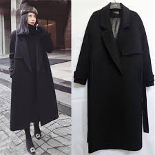 spring autumn winter new womens casual wool blend trench coat oversize long coat with belt women