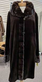 dark brown dyed sheared mink 7 8 s coat with cross cut mahogany mink tuxedo and cuffs size 12