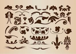 Design Decorative Enchanting Set Of Vector Floral Decorative Elements For Design Free Vector
