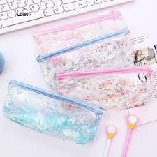 LB7  Glitter <b>Quicksand Transparent Pencil Case</b> Zipper <b>Pen Bag</b> ...