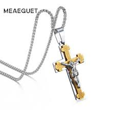 whole meaeguet 2 in1 catholic cross pendant necklace men s crucifix jewelry stainless steel vintage necklaces for male 24 chain turquoise pendant