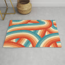 red orange blue and cream 70 s style rainbow stripes rug