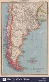 Capo Horn. La Patagonia Argentina Cile Isole Falkland. Bartolomeo 1944  mappa Foto stock - Alamy