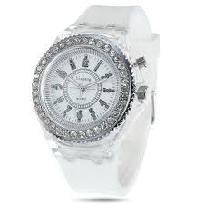 cool flash light jelly diamond men quartz watch silicone cool flash light jelly diamond men quartz watch silicone strap white