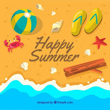 Download Vector Happy Summer Background With Objects On The