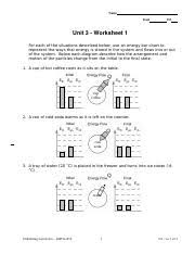Energy Bar Charts Chemistry Unit 3 Ws1 Name Date Pd Unit3worksheet1 For Each Of The