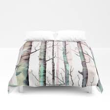 birch tree forest duvet cover by