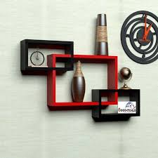 woodworld wooden intersecting storage wall shelves rack 3 red and black